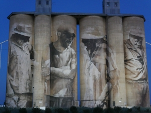 Brim Silo Art at dusk